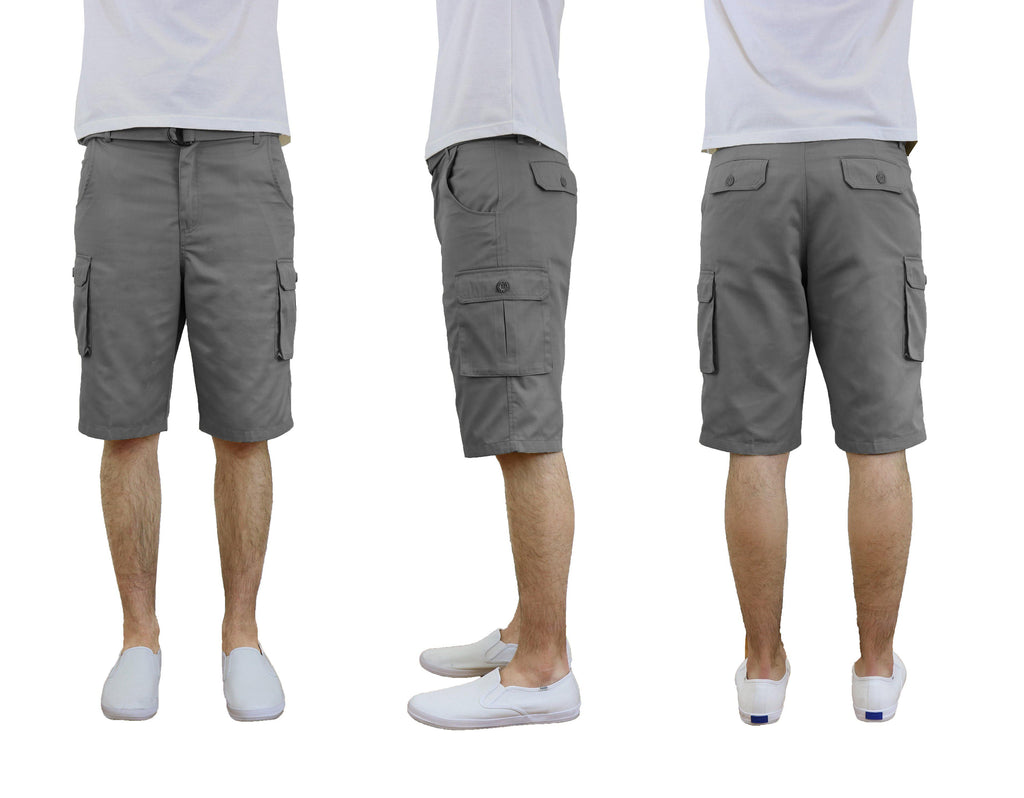 Men's Cotton Twill Cargo Shorts With Belt-Grey-36-Daily Steals