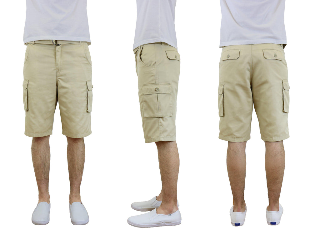 Men's Cotton Twill Cargo Shorts With Belt-Khaki-30-Daily Steals