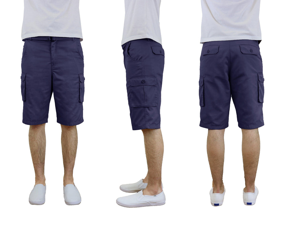 Men's Cotton Twill Cargo Shorts With Belt-Navy-30-Daily Steals