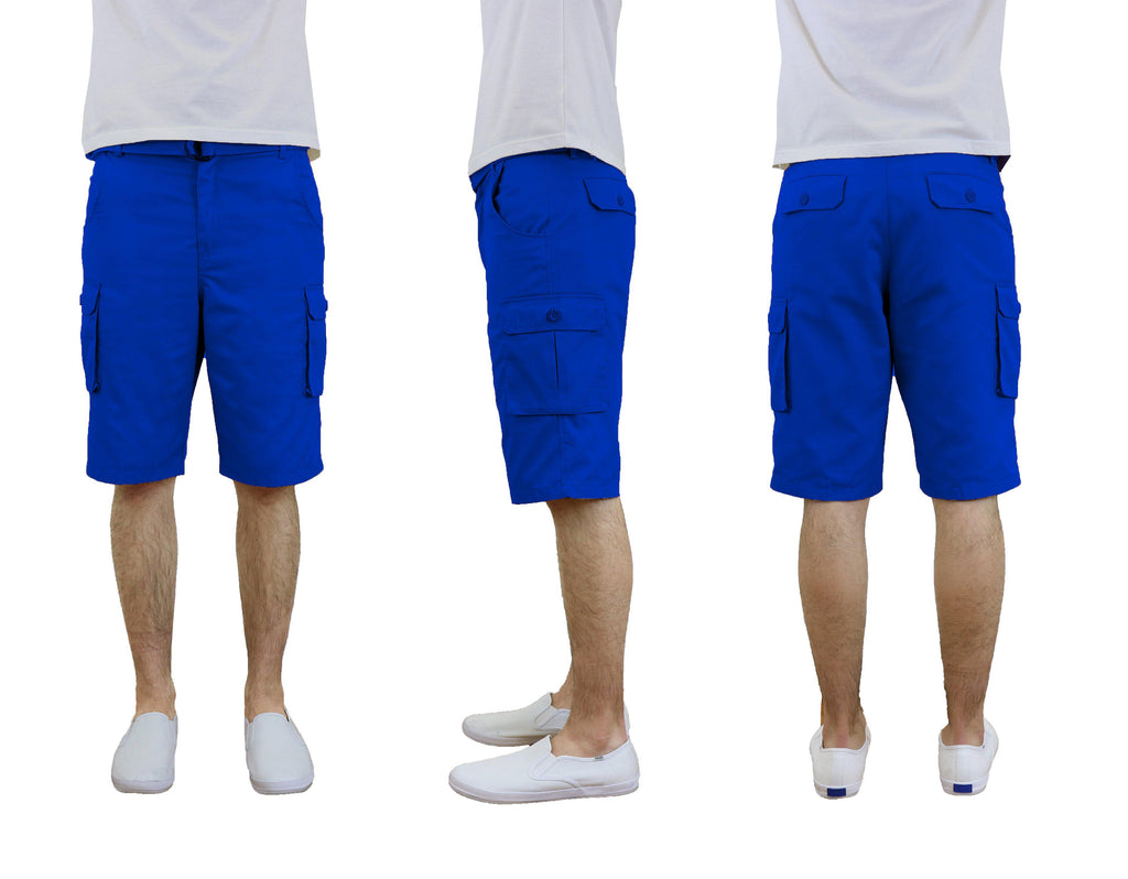 Men's Cotton Twill Cargo Shorts With Belt-Royal-30-Daily Steals