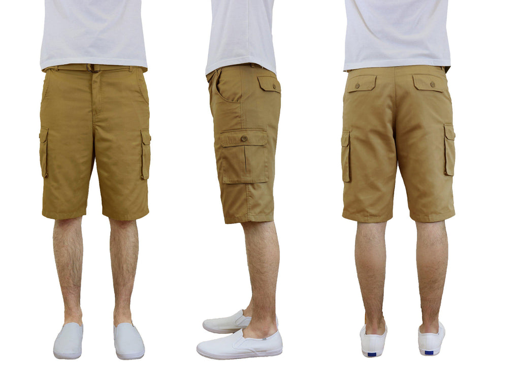 Men's Cotton Twill Cargo Shorts With Belt-Timber-30-Daily Steals