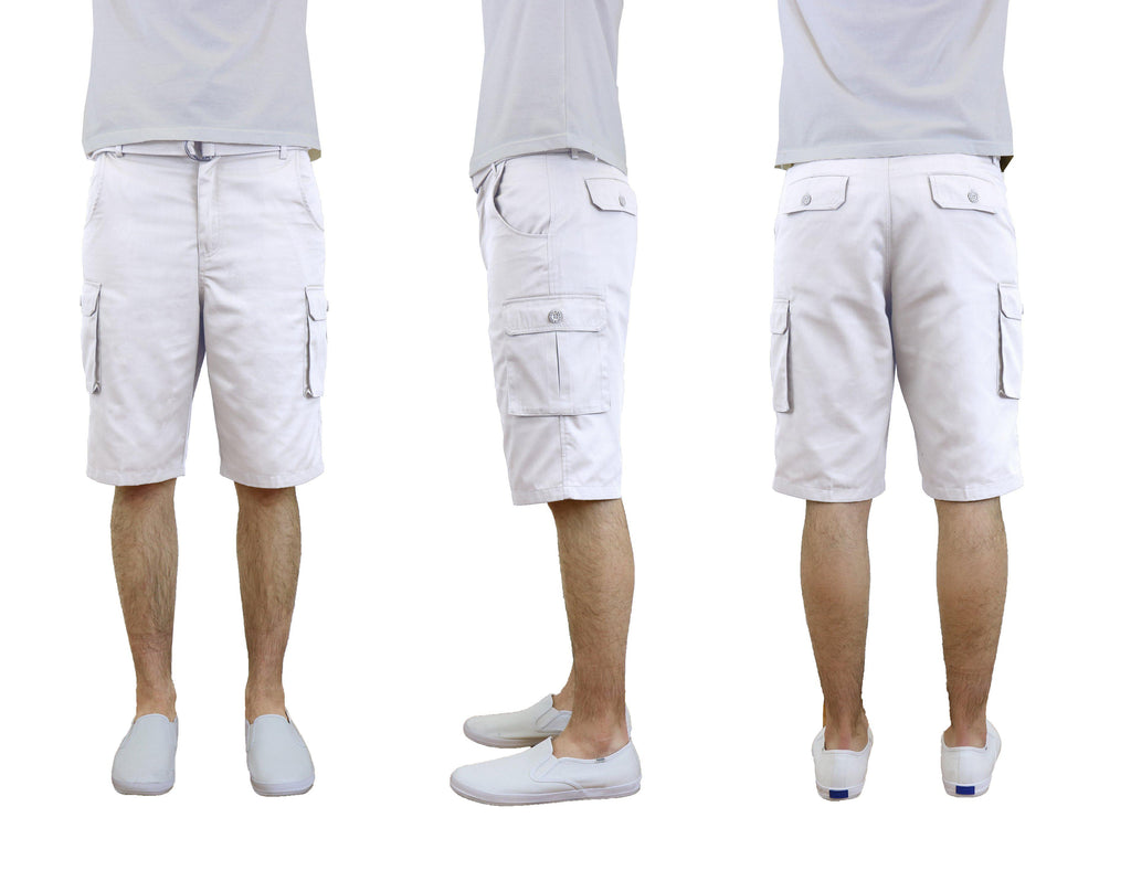 Men's Cotton Twill Cargo Shorts With Belt-White-30-Daily Steals
