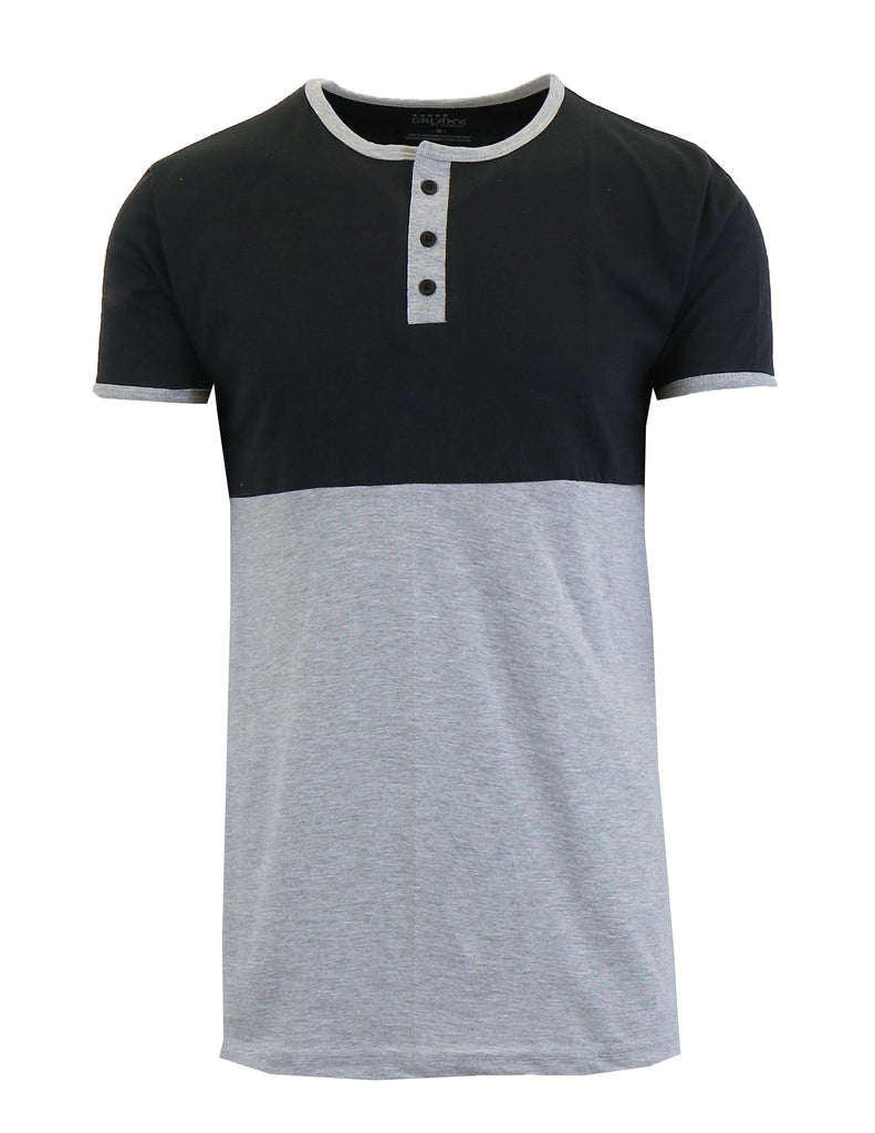 Men's Short Sleeve 100% Cotton Henley Tees-Black/Heather Grey-S-Daily Steals