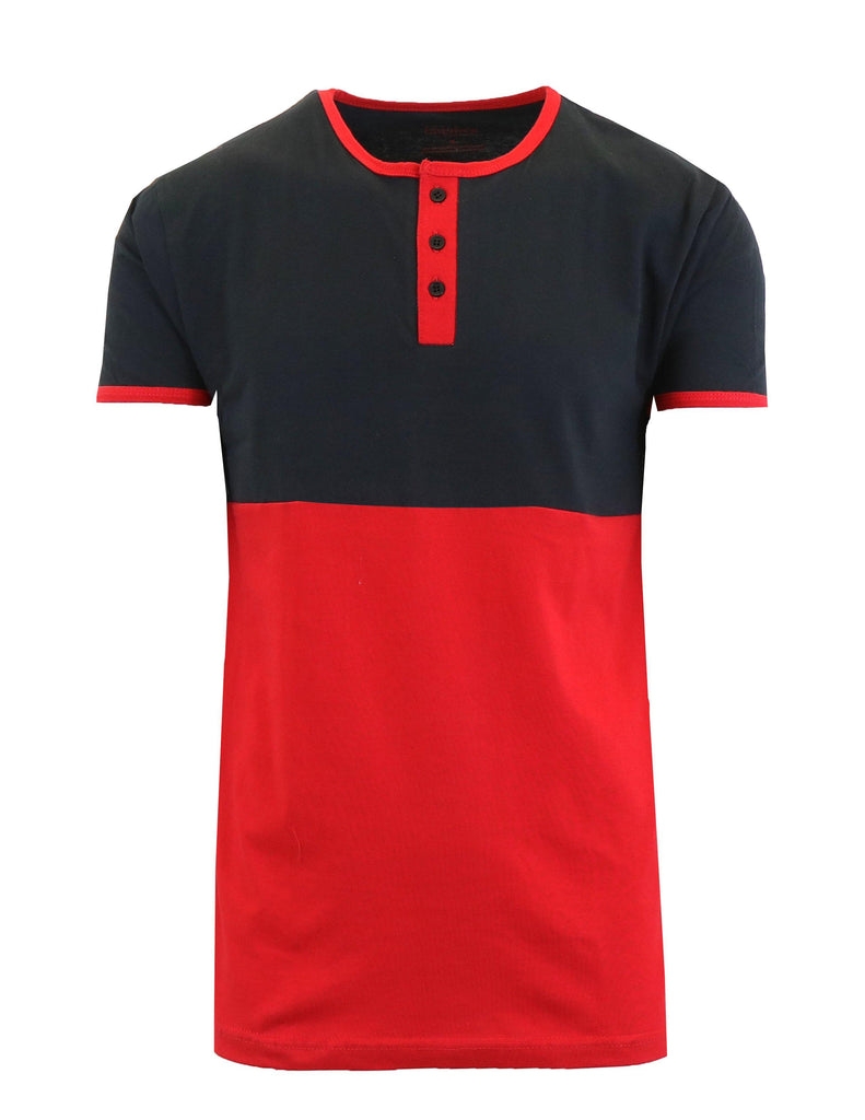 Men's Short Sleeve 100% Cotton Henley Tees-Black/Red-S-Daily Steals