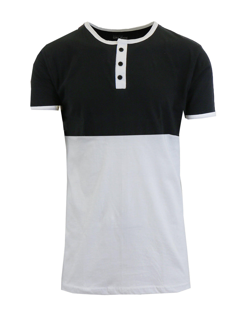 Men's Short Sleeve 100% Cotton Henley Tees-Black/White-S-Daily Steals