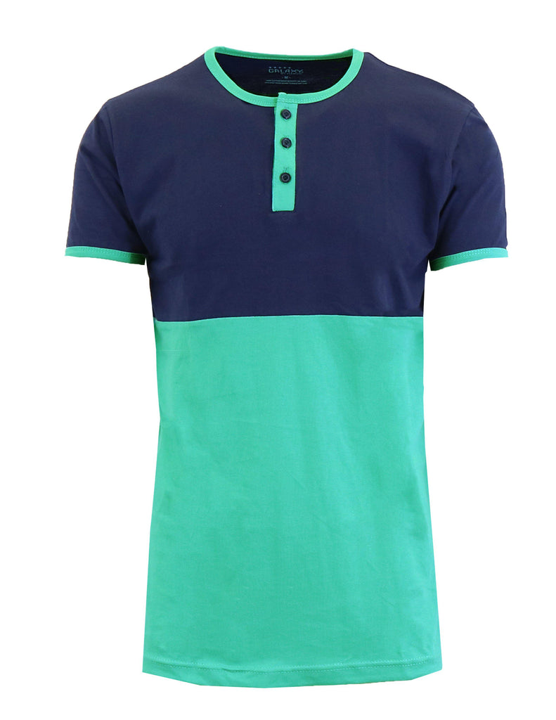 Men's Short Sleeve 100% Cotton Henley Tees-Navy/Mint-S-Daily Steals