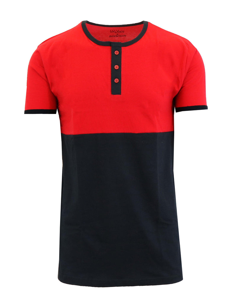 Men's Short Sleeve 100% Cotton Henley Tees-Red/Black-S-Daily Steals