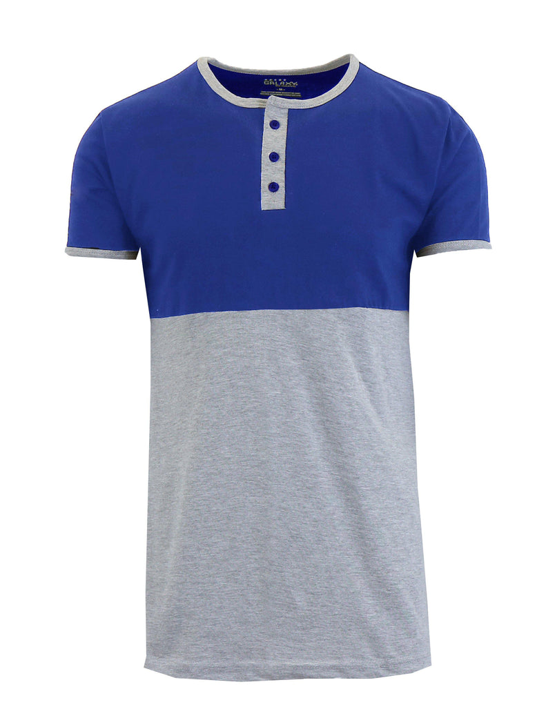 Men's Short Sleeve 100% Cotton Henley Tees-Royal/Heather Grey-S-Daily Steals