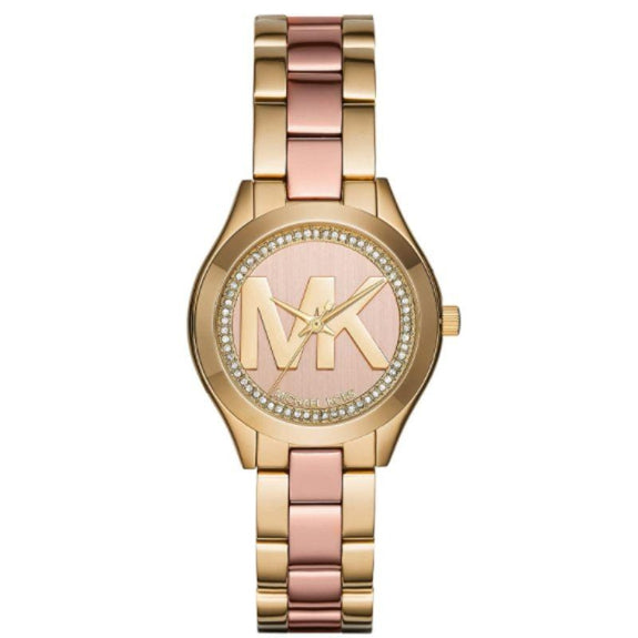 Michael Kors Mini Slim Runway Stainless Steel Watch - Gold/Pink-
