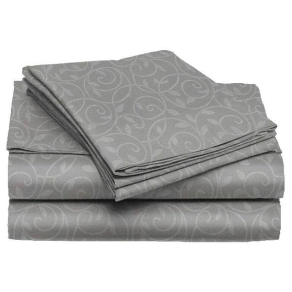 Microfiber Scrolling Vine Pattern Sheet Set-GREY-King-