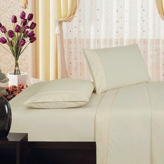 Microfiber Scrolling Vine Pattern Sheet Set-IVORY-King-