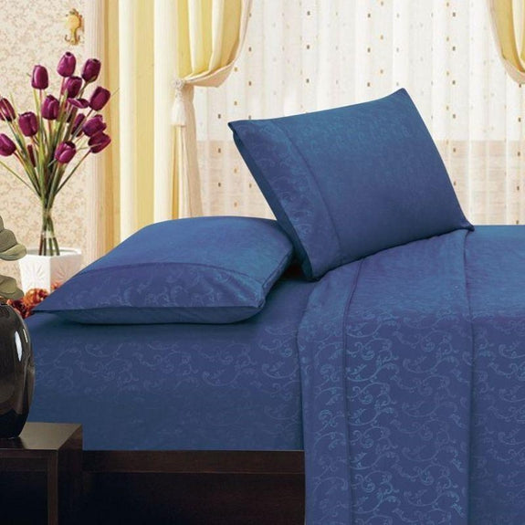 Microfiber Scrolling Vine Pattern Sheet Set-NAVY-King-