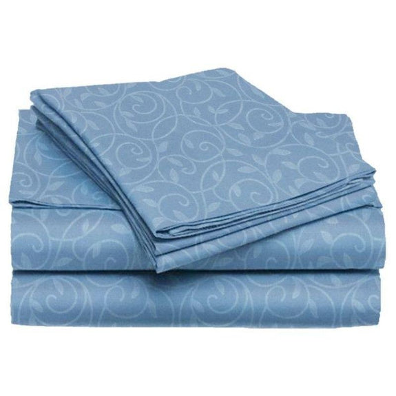 Microfiber Scrolling Vine Pattern Sheet Set-OCEAN BLUE-Full-