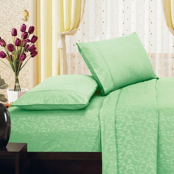 Microfiber Scrolling Vine Pattern Sheet Set-SAGE-Full-