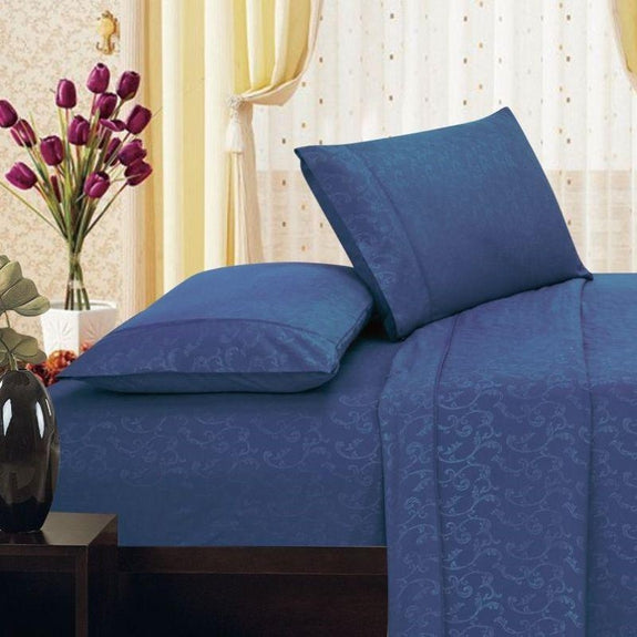 Microfiber Scrolling Vine Pattern Sheet Set-NAVY-Twin-