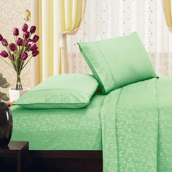 Microfiber Scrolling Vine Pattern Sheet Set-SAGE-Twin-