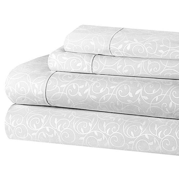 Microfiber Scrolling Vine Pattern Sheet Set-WHITE-Full-