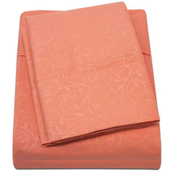 Microfiber Scrolling Vine Pattern Sheet Set-ORANGE-Twin-