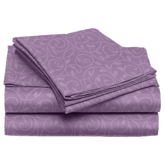 Microfiber Scrolling Vine Pattern Sheet Set-PLUM-Twin-