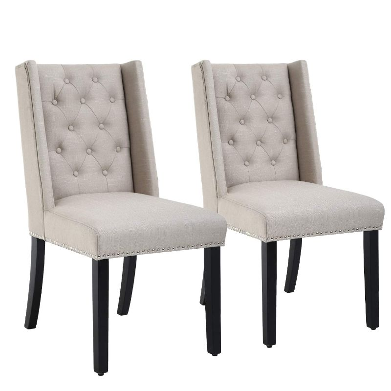 Mid-Century Modern Dining Room Chair Set - 2 Chairs-Beige-Daily Steals