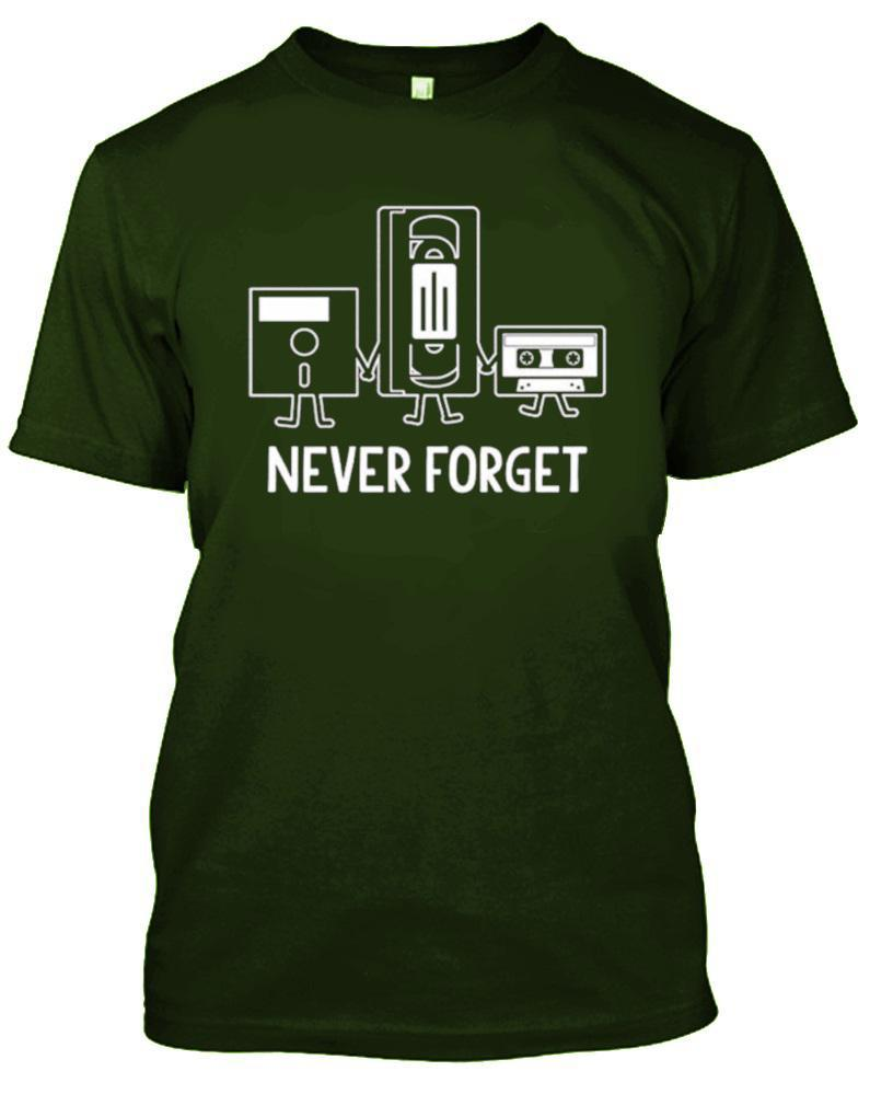 Ne jamais oublier nostalgique Floppy Disk Cassette T-Shirt-Military Green-S-Daily Steals