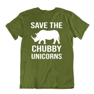 Save The Chubby Unicorns T-Shirt-Military Green-S-Daily Steals