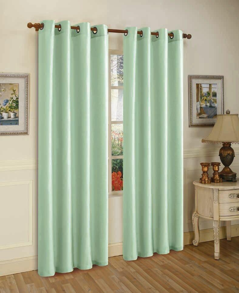 Mira Faux Silk Curtains with Bronze Grommets - 3 Panels-Mint-Daily Steals
