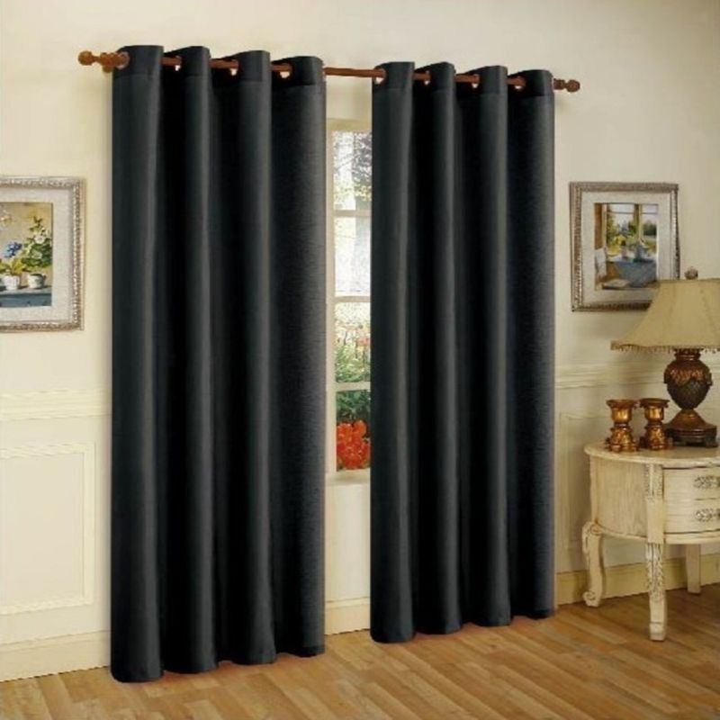 Set of Two Stylish Curtain Panels with Rod Grommets: 58 x 84 Inches-Black-Daily Steals