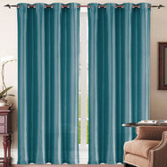 Set of Two Stylish Curtain Panels with Rod Grommets: 58 x 84 Inches-Teal-Daily Steals