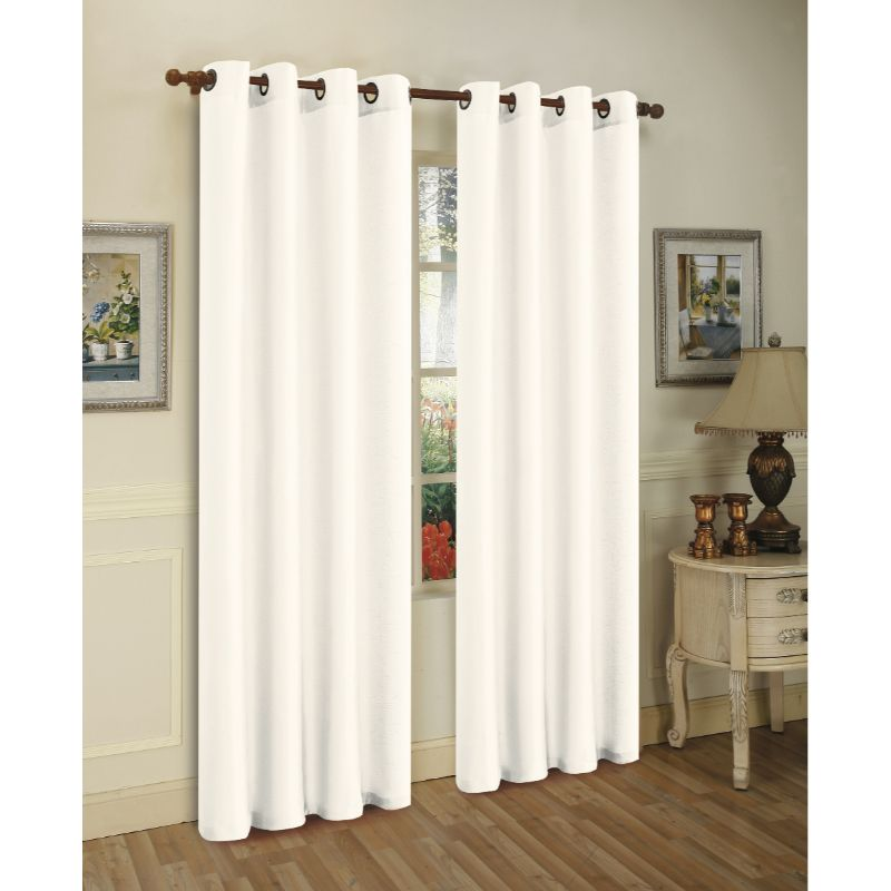 Set of Two Stylish Curtain Panels with Rod Grommets: 58 x 84 Inches-White-Daily Steals