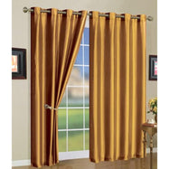 Set of Two Stylish Curtain Panels with Rod Grommets: 58 x 84 Inches-Gold-Daily Steals
