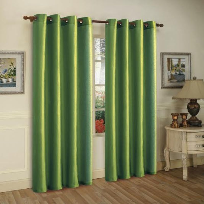 Set of Two Stylish Curtain Panels with Rod Grommets: 58 x 84 Inches-Green-Daily Steals