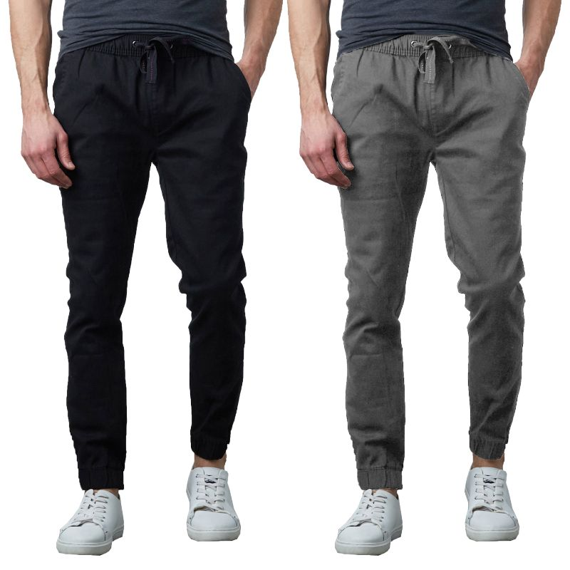 Men's Slim Fitting Cotton Stretch Classic Twill Joggers - 2 Pack