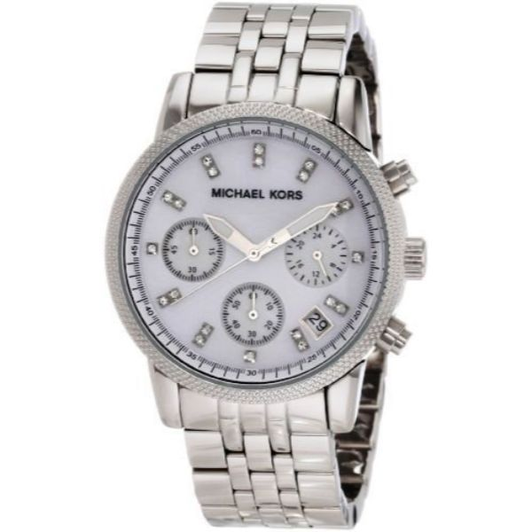 Michael Kors Chronograph Silver Mother of Pearl Women's Watch-Daily Steals