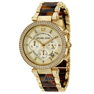 Michael Kors Parker Chronograph Gold Tortoiseshell Women's Watch-Daily Steals