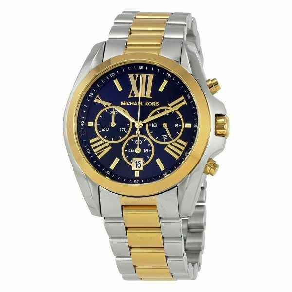 Michael Kors Bradshaw Chronograph Blue Dial Silver and Gold Tone Women's Watch-Daily Steals