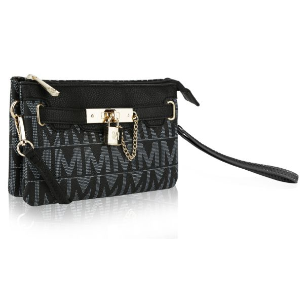 MKF Signature Logo Print Wristlet Bag par Mia K Farrow-Midnight Black-Daily Steals