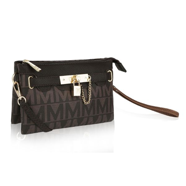 MKF Signature Logo Print Wristlet Bag par Mia K Farrow-Swiss Chocolate-Daily Steals