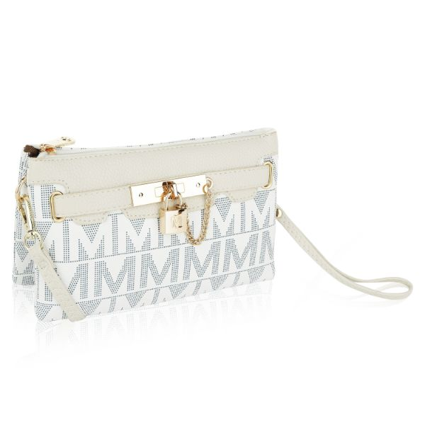 MKF Signature Logo Print Wristlet Bag par Mia K Farrow-Pearl White-Daily Steals
