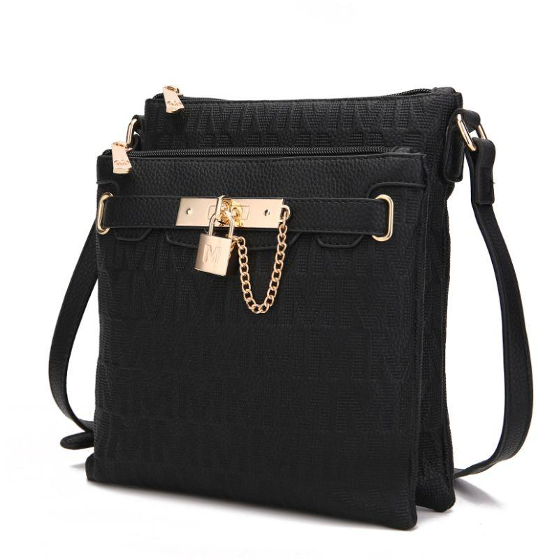 MKF Collection by Mia K - Hallie Lock Oversized Crossbody Bag-Black-Daily Steals