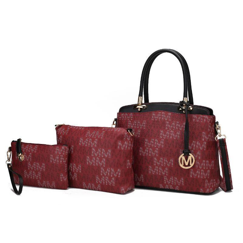 MKF Collection by Mia K - Sammi Tote bag, Crossbody Pouch Handbag and Wristlet-Burgundy-
