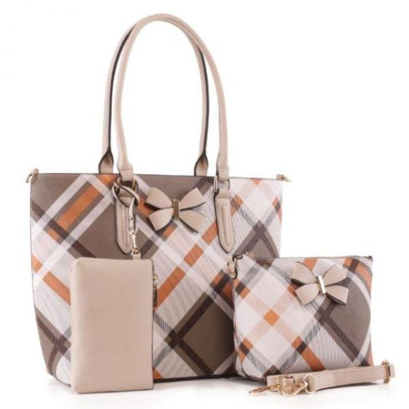 MKF Collection Jixi Tote, Crossbody Bag and Matching Wristlet-Beige-Daily Steals