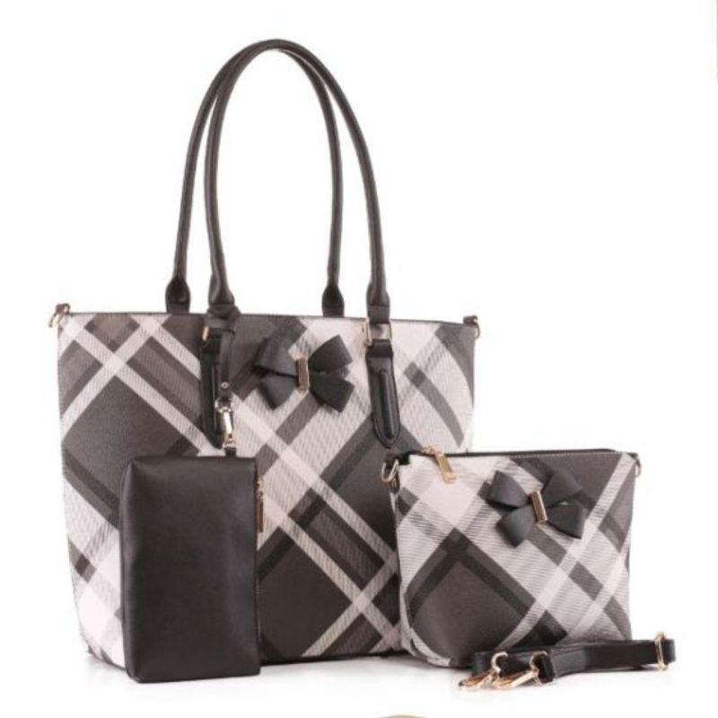 MKF Collection Jixi Tote, Crossbody Bag and Matching Wristlet-Black-Daily Steals