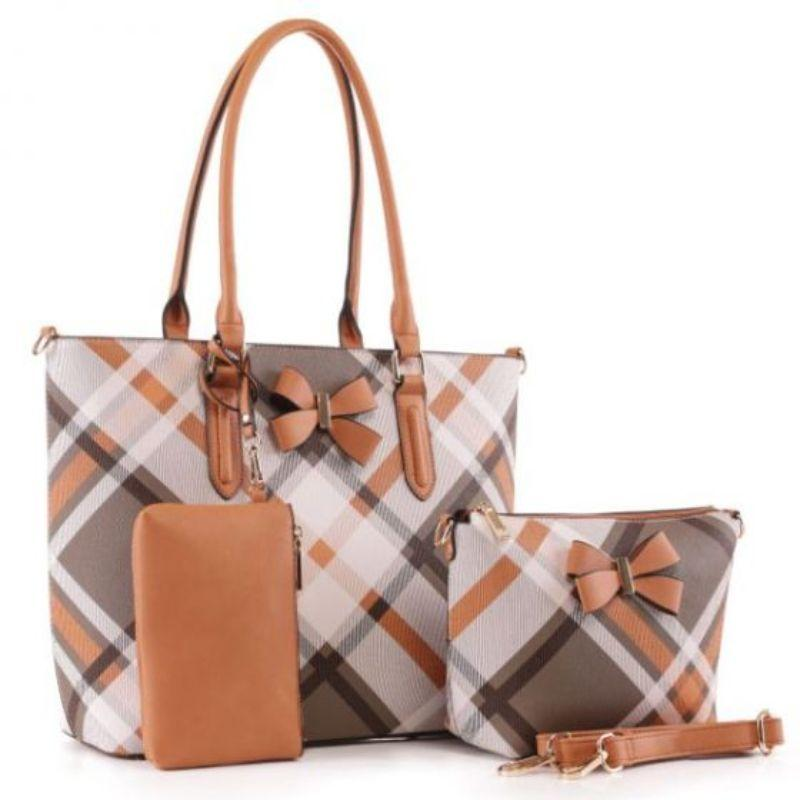 MKF Collection Jixi fourre-tout, sac à bandoulière et bracelet assorti-Cognac Brown-Daily Steals