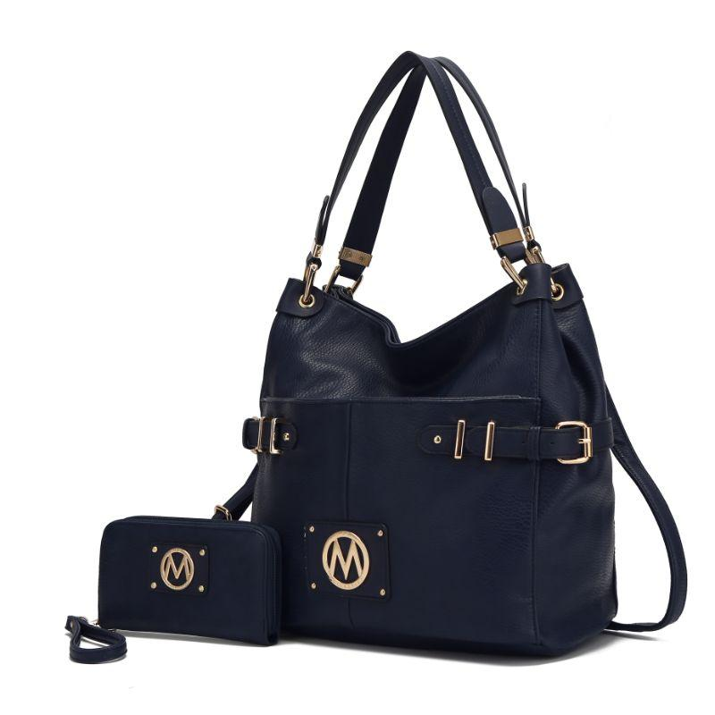 MKF Collection Latoya Hobo Bag and Matching Wristlet-Navy-Daily Steals