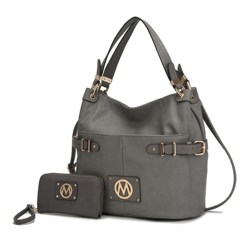 MKF Collection Latoya Hobo Bag and Matching Wristlet-Pewter-Daily Steals
