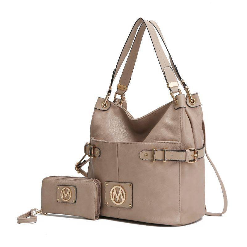 MKF Collection Latoya Hobo Bag and Matching Wristlet-Taupe-Daily Steals