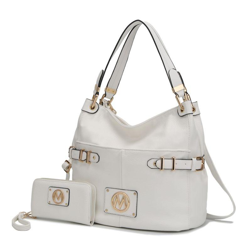 MKF Collection Latoya Hobo Bag and Matching Wristlet-White-Daily Steals