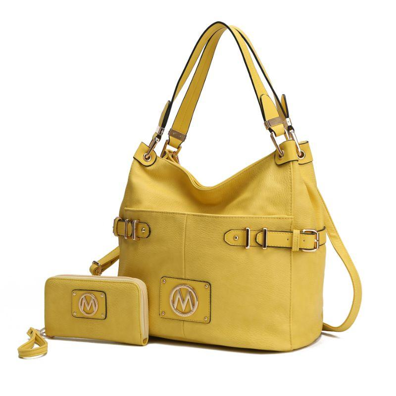 MKF Collection Latoya Hobo Bag and Matching Wristlet-Yellow-Daily Steals