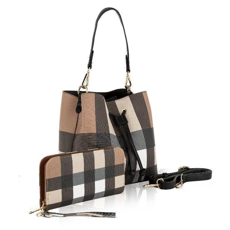 MKF Collection Lue Hobo Hangbag with Matching Wallet-Tan-Black-